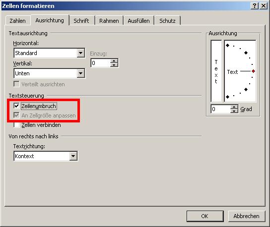 Zeilenumbruch in Excel