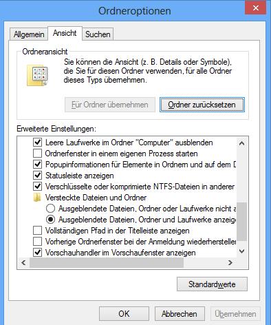 Versteckte Dateien unter Windows 8 sichtbar machen