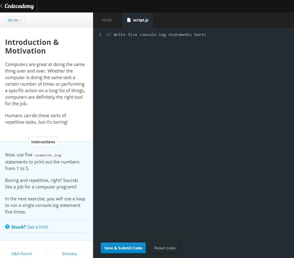 In diesem Bildschirm gibt man seinen Code ein - Programme werden unmittelbar nach dem Start auf dem Server ausgeführt