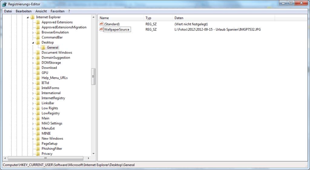 Pfad zum Windows-Hintergrundbild in der Registrierdatenbank