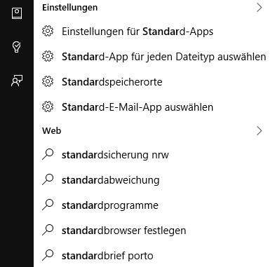 Suche nach Systemsteuerungs-Funktion in Windows 10