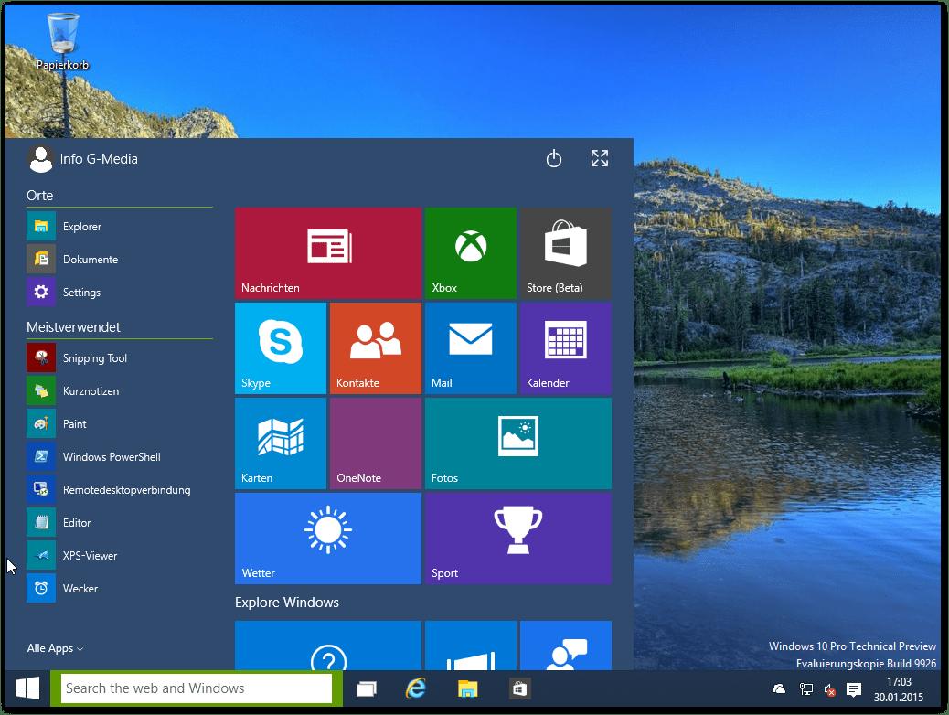 Windows 10 in der virtuellen Maschine (VM)