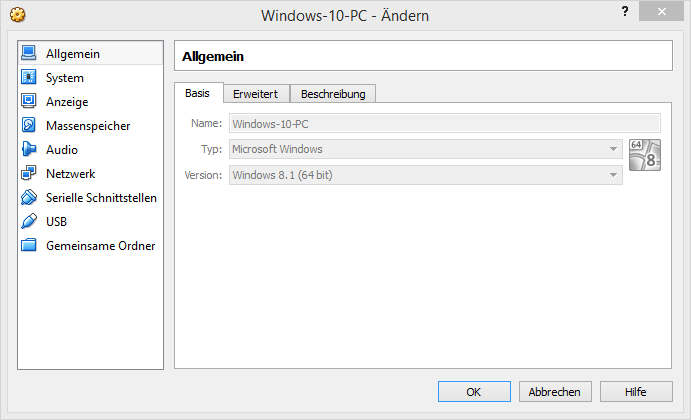 Windows 10 in Oracles Virtualbox