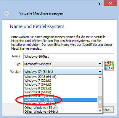 Windows 10 unter Virtualbox