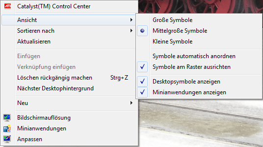 Windows-7-Desktop: kleine Symbole