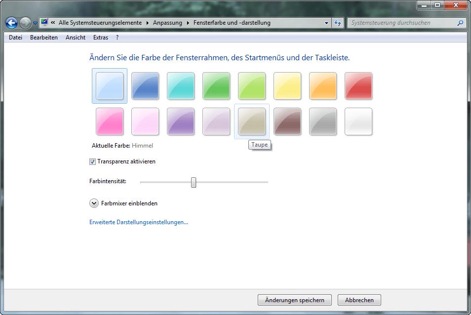 Windows-7-Fensterdarstellung und -Fenstersymbole