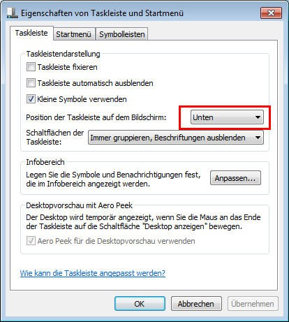 Windows 7: Taskleiste (Superbar) - Position der Superbar einstellen