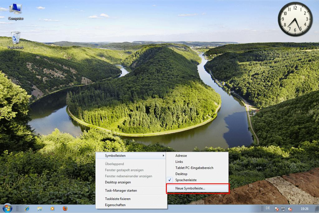 Windows 7: Schnellstart-Leiste reaktivieren (1)