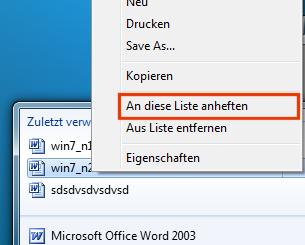 Häufig benötigtes Dokument an Taskleiste anheften
