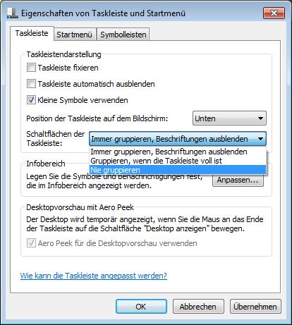 Windows 7: Taskleiste/Superbar wie bei XP oder Vista erstellen