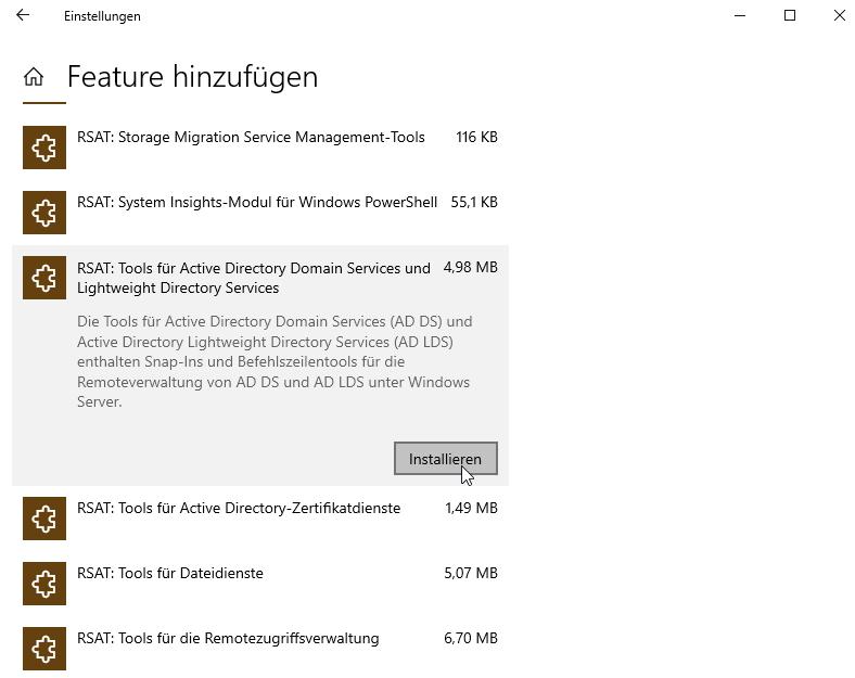 Active Directory Feature installieren