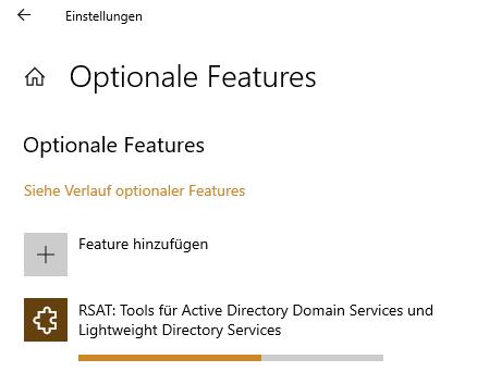 Active Directory Feature wird installiert