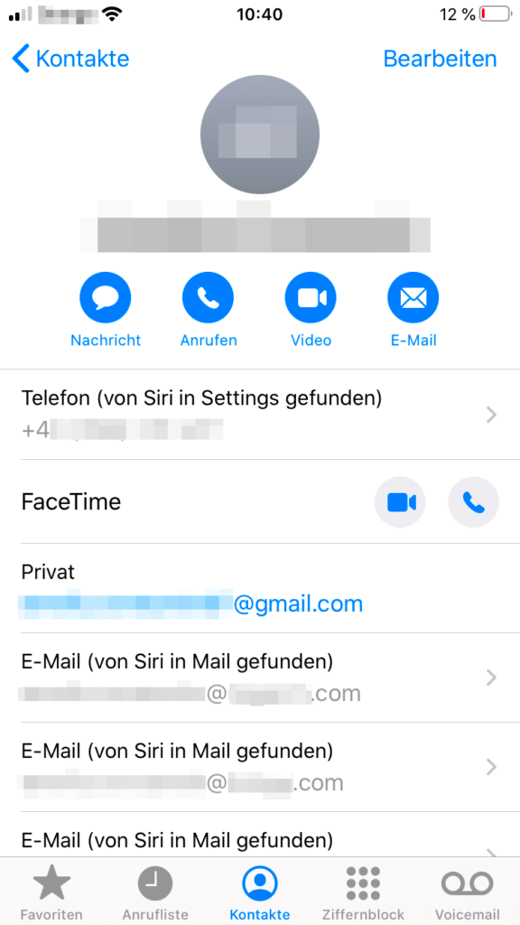 Gespeicherte E-Mail-Adressen in den Kontakten