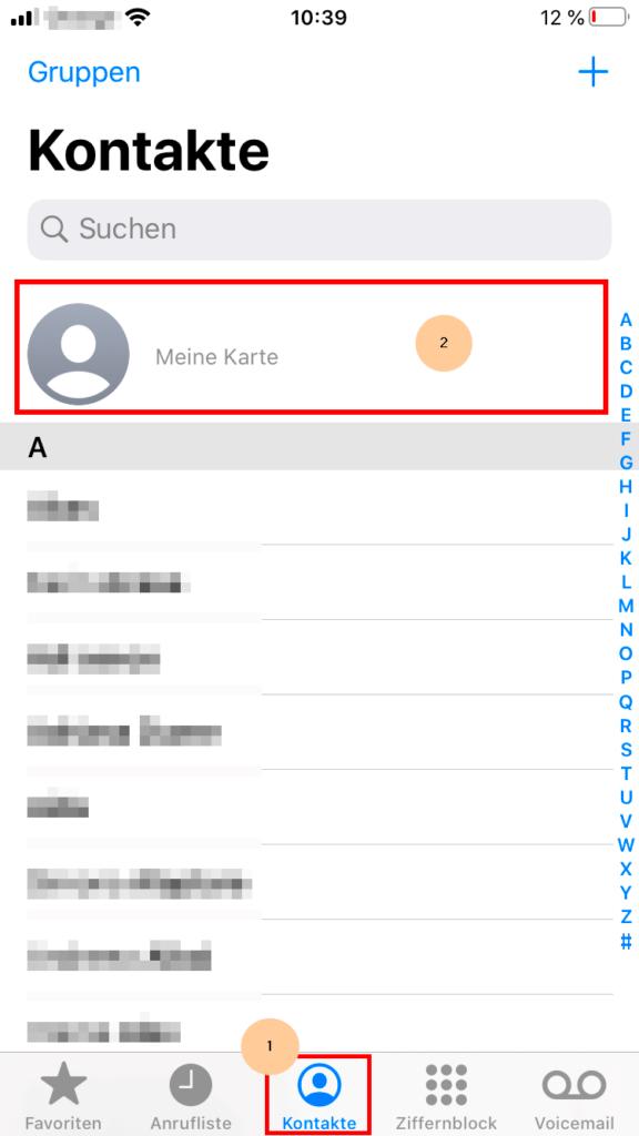 Kontakte und Meine Karte wählen