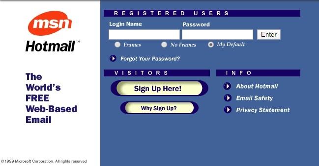 Hotmail im Jahr 1999, kurz nach der Übernahme durch Microsoft