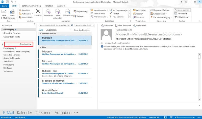 Hotmail-Adresse in Outlook