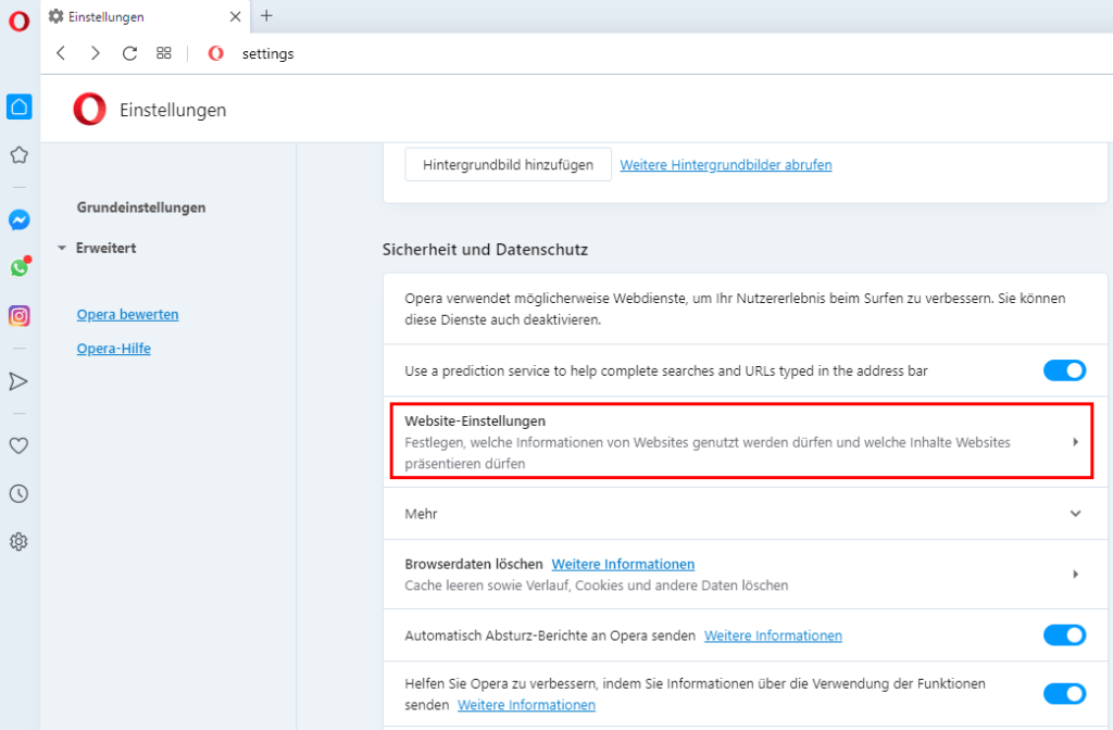 JavaScript in Opera einschalten 2