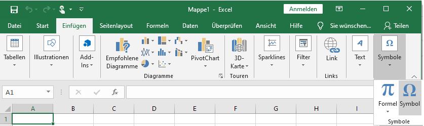 Hier finden Sie in Excel Symbole, wie den Aufzählungspunkt.