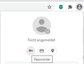 Unter dem Profilbild finden Sie Passwörter.