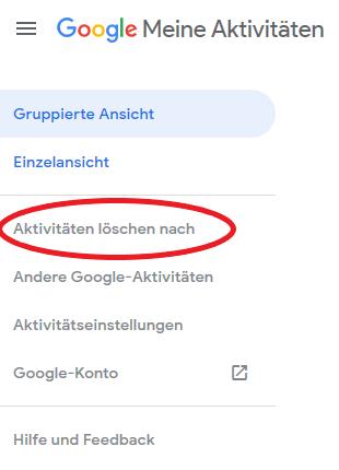 Hier können Sie Ihre Google-Aktivitäten löschen.