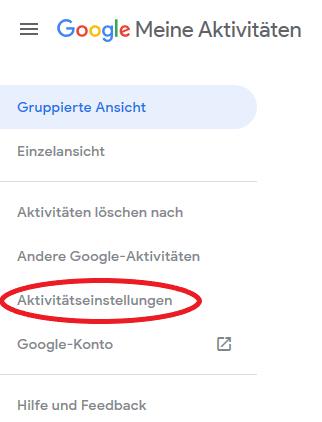 Unter Aktivitätseinstellungen kann man Meine Google-Aktivitäten ausschalten.