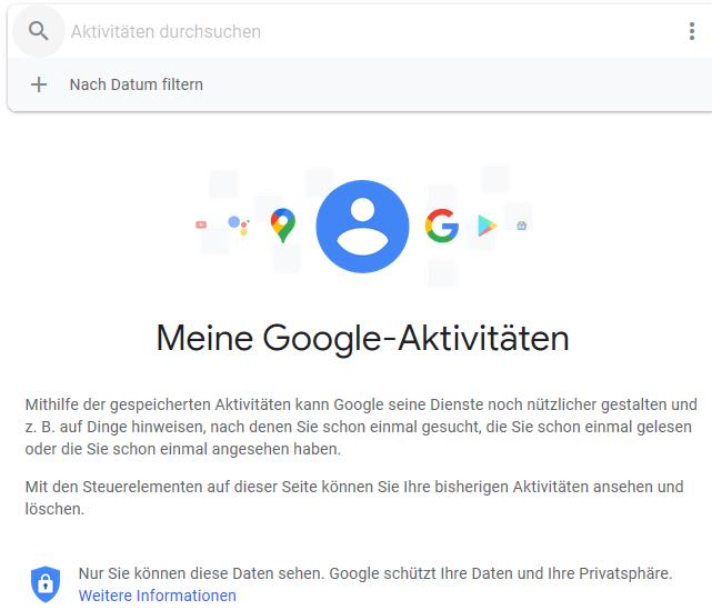 Die Ansicht von Meine Google-Aktivitäten.