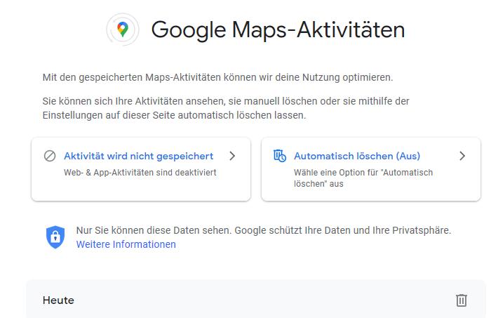 Hier können Sie Ihren Google Maps Verlauf ansehen und löschen.