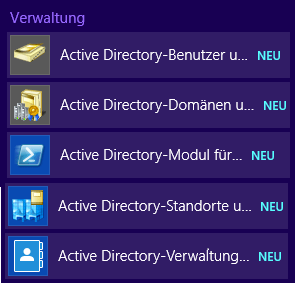 Start - Active Directory Verwaltungstools