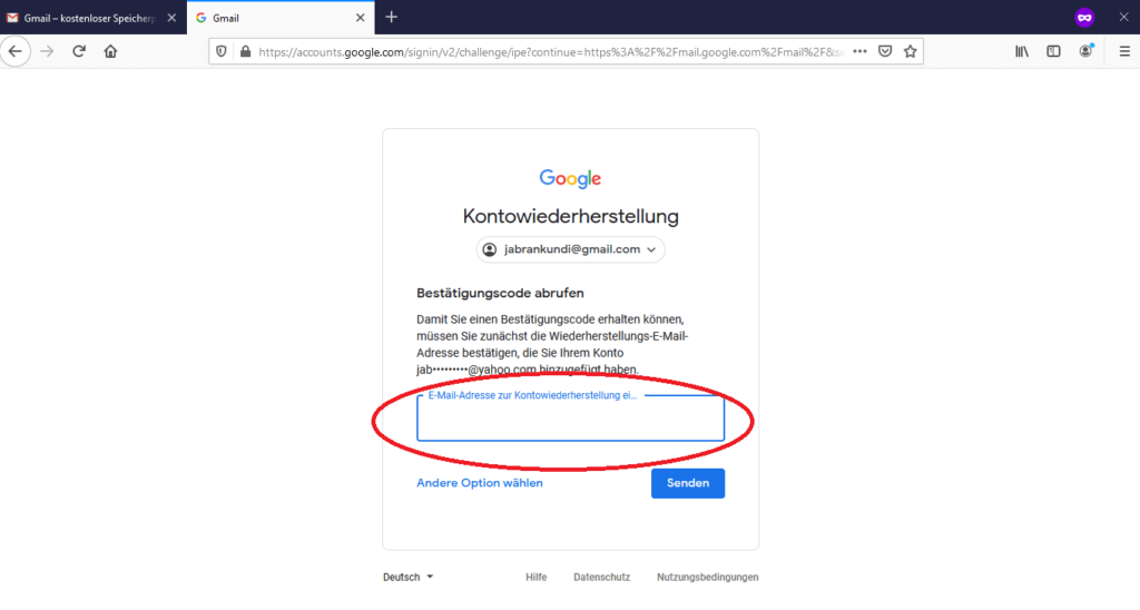 Wiederherstellungs-E-Mail-Adresse bei Gmail eingeben