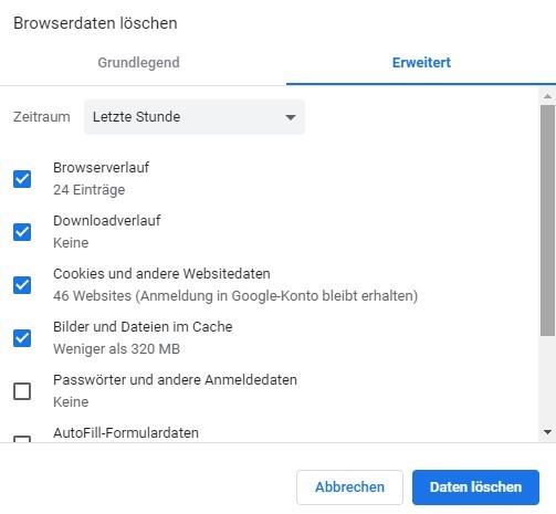 Diese Browserdaten können gelöscht werden.