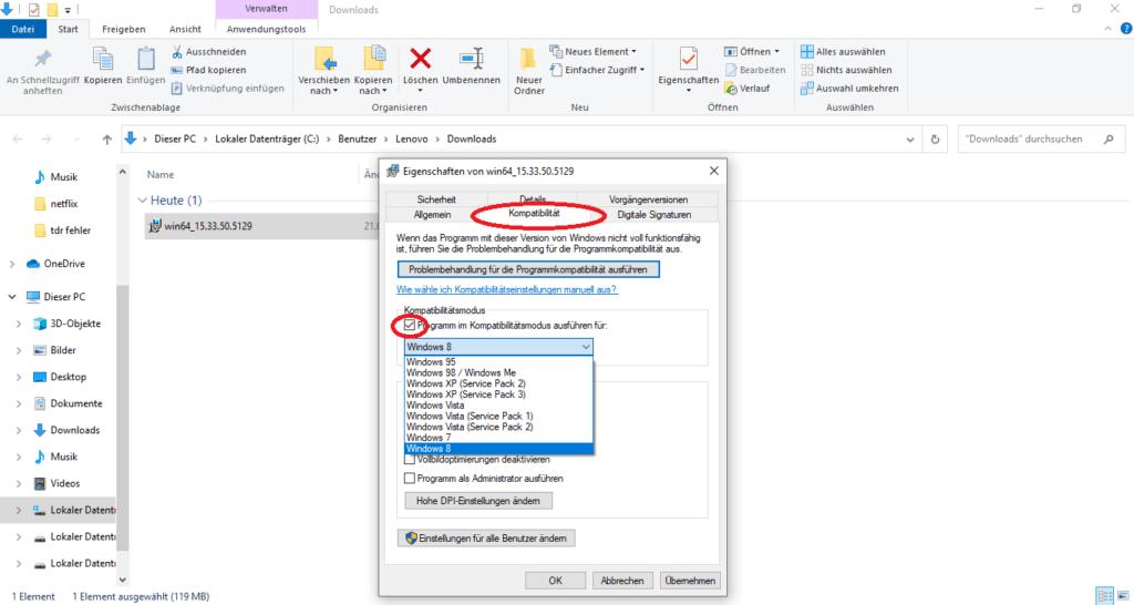 Fehler video_tdr_failure im Kompatibilitätsmodus von Windows 10 beheben