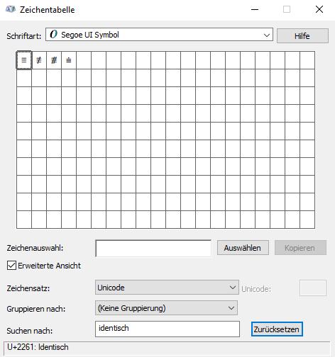 Das Menü Icon in der Zeichentabelle von Windows.