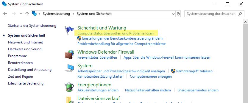 Öffnen Sie den Computerstatus, um zu erfahren, ob es ein konkretes Problem gibt.