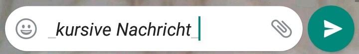 Ein kursiver Text in WhatsApp wird mit Unterstrichen erstellt.