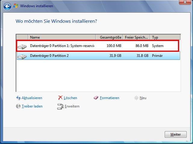 Fehler 0x80070057 bei Formattierung der Festplatte während der Windows 7 Installation