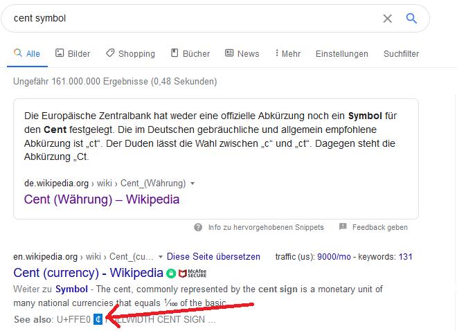 google cent zeichen