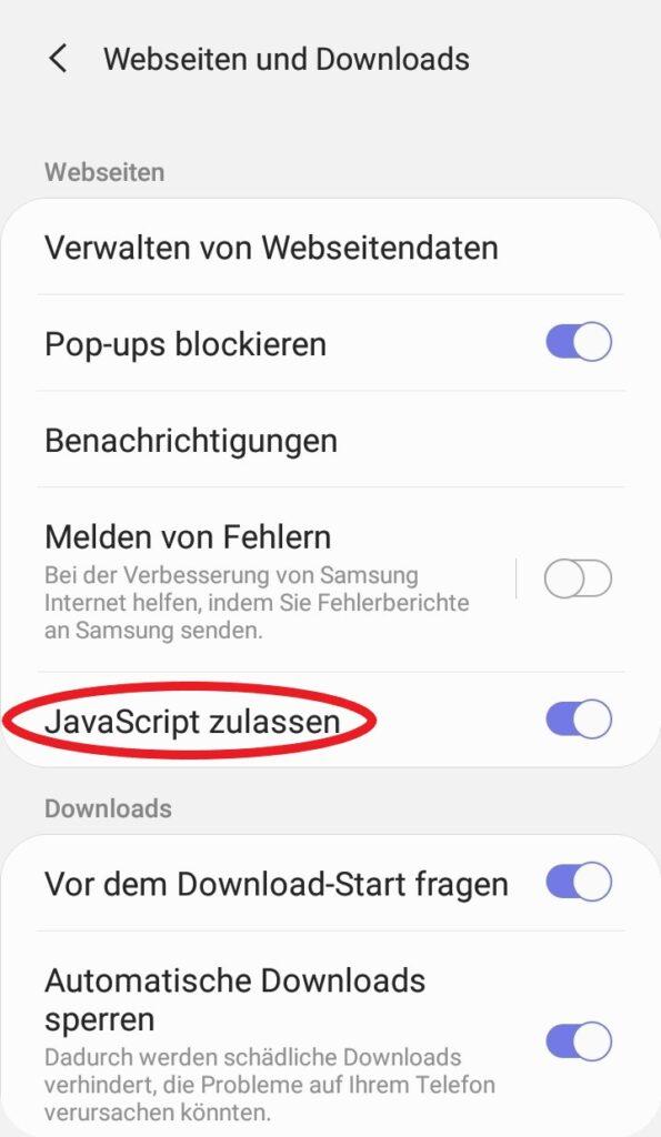 Hier können Sie JavaScript bei Android aktivieren.