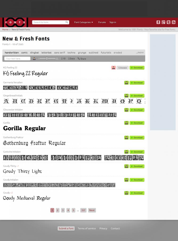 Freie Schriftarten für die kommerzielle Nutzung bei 1001fonts