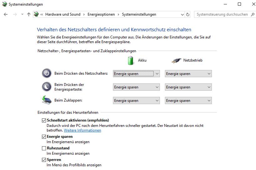 Das Deaktivieren des Schnellstarts kann den Seitenfehler von Windows 10 beheben.