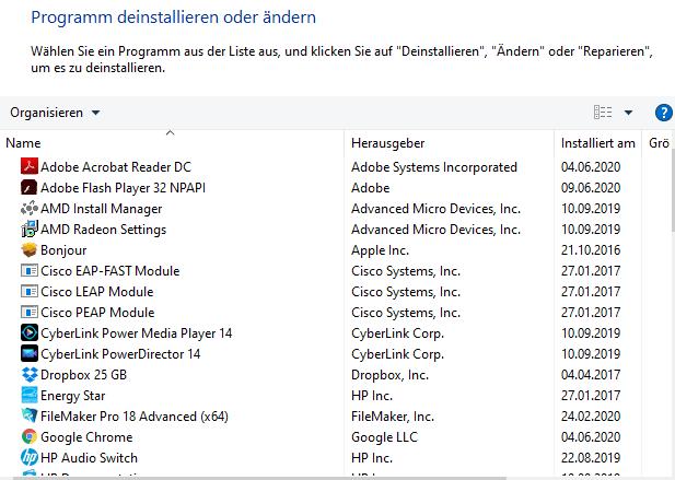Deinstallieren Sie das Programm, welches vor dem Seitenfehler bei Windows 10 als letztes installiert wurde.