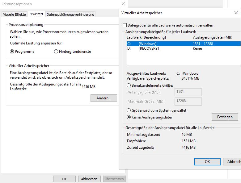 Bearbeiten Sie Ihren virtuellen Arbeitsspeicher. Das kann den Seitenfehler bei Windows 10 reparieren.