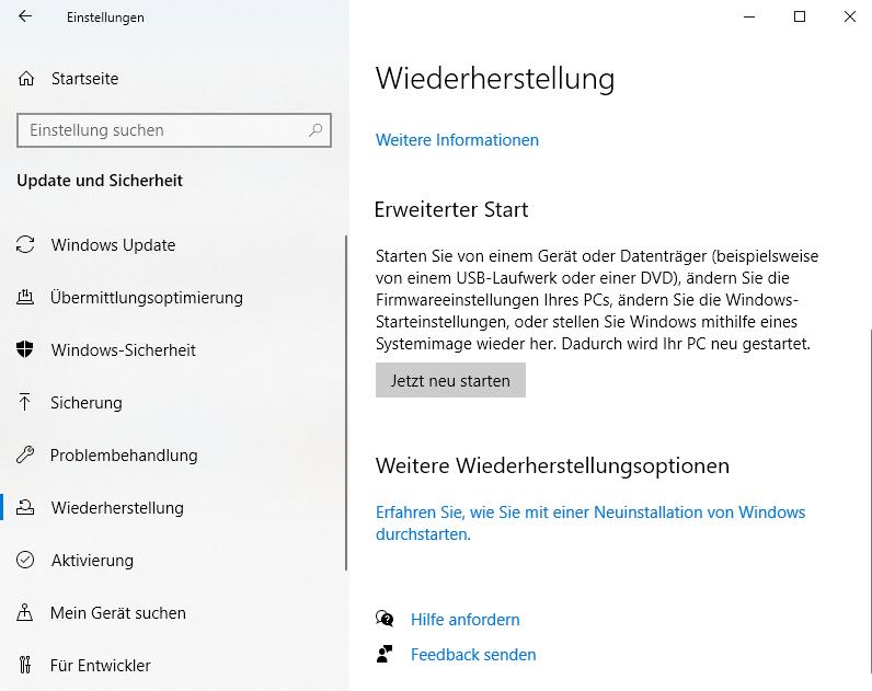 Ein erweiterter Neustart kann Seitenfehler in Windows 10 beheben.