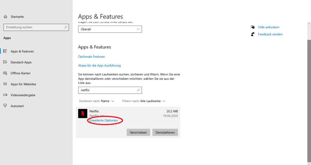 Erweiterte Optionen für die Netflix-App unter Windows 10 öffnen, wenn die App nicht funktioniert