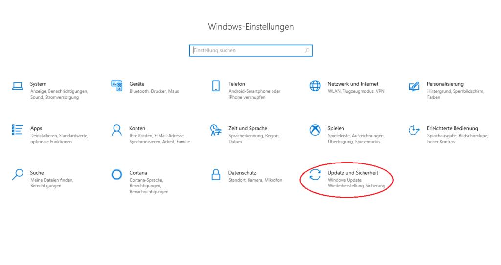 Update und Sicherheit in den Windows-Einstellungen auswählen, um den Fehler video_tdr_failure unter Windows 10 zu lösen