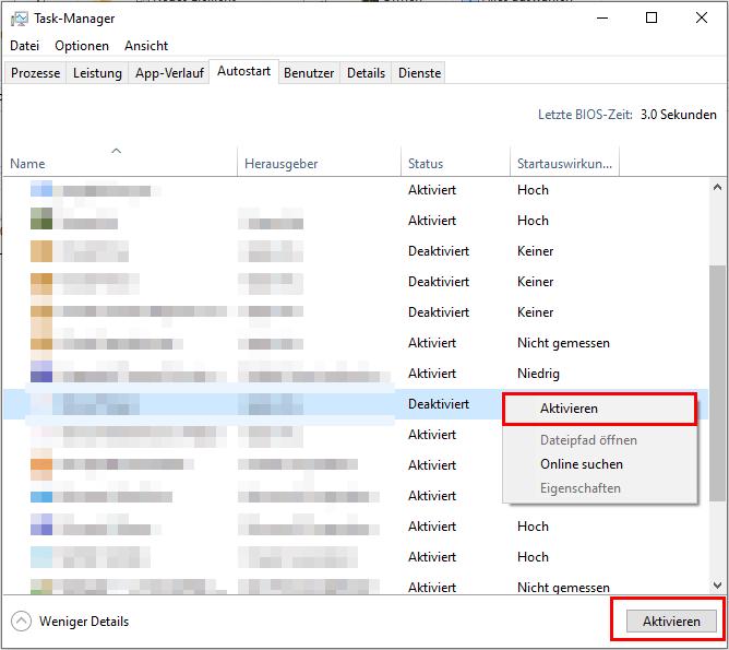 Autostart-Ordner - Anwendungen aktivieren