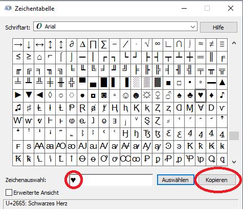 herz symbol tastatur