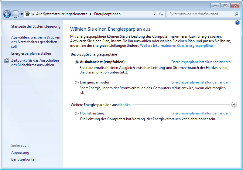 Windows-7-Systemsteuerung-Energieoptionen