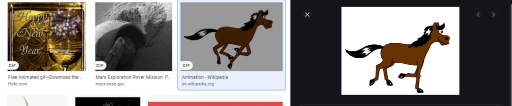 Bildsuche (links) ist nicht animiert, Detailansicht (rechts) ist animiert.