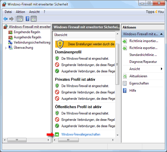 In der Windows-Firewall klicken Sie im mittleren Fenster auf die Windows-Firewalleigenschaften.
