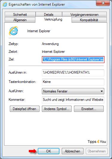 In den Eigenschaften des Internet Explorers kopieren Sie den Programmzielpfad mit einem Druck auf die Strg- und die C-Taste. Danach schließen Sie die Eigenschaften... mit einem Klick auf OK.